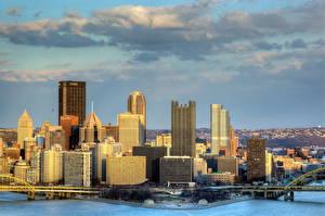Обои Америка Дома Небоскребы Небо Питтсбург Пенсильвания Города