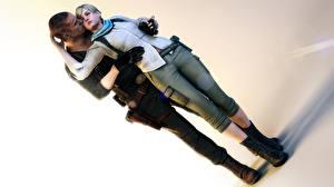 Картинки Resident Evil Resident Evil 6 Мужчины Любовь Объятие Ноги Jake Muller Sherry Birkin Игры 3D_Графика Девушки
