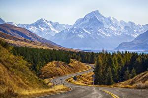 Обои Парки Новая Зеландия Горы Дороги Пейзаж Cook Природа