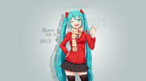 Фотографии Вокалоид Новый год Hatsune Miku 2013 Школьницы Девушки