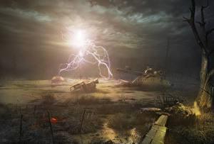 Обои STALKER Вертолеты Молния Ночные Болото Фантастика