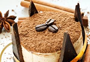 Картинка Сладости Торты Кофе Вблизи Зерна Еда