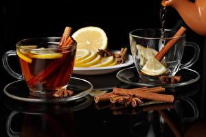Фотографии Напитки Чай Корица Лимоны Чашке Блюдце Еда