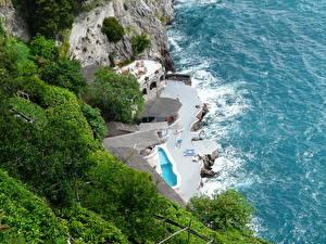 Фотографии Берег Италия Море Амальфи Сверху Природа
