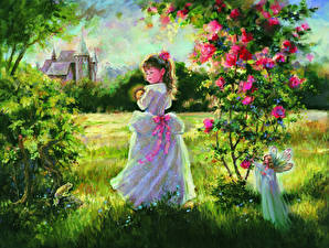 Обои Живопись Сады Лето Девочки Платье Трава Mary Baxter St. Clair Дети