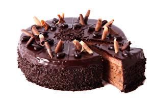 Картинка Сладости Торты Шоколад Белым фоном Продукты питания