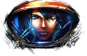 Фото StarCraft StarCraft 2 Космонавты Шлем Лицо Девушки