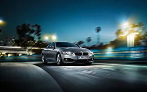 Фотография BMW Ночью 2014 bmw 4 series coupe Автомобили