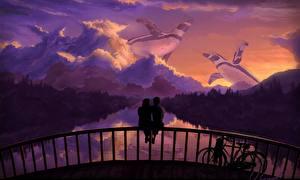 Фото Любовь Мосты Пингвины Велосипед Ограда Сидит Фантастика
