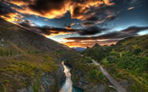 Обои Дороги Горы Небо Речка Сверху Облака HDR Природа