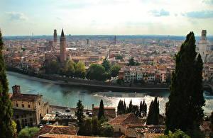 Картинка Италия Здания Верона Водный канал Сверху Горизонт Verona by Andrei Antipin