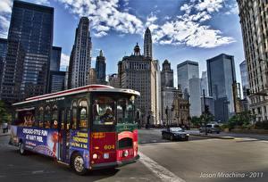 Обои Штаты Дома Небоскребы Дороги Автобус Улица Чикаго город Города