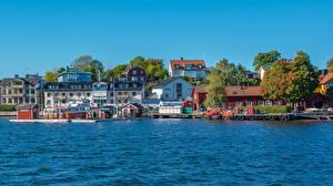Фотографии Швеция Берег Вода Дома Стокгольм Vaxholm