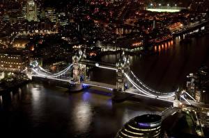 Обои Англия Мост Река Лондоне Сверху Ночью Города