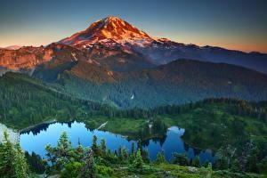 Обои Парки Горы Пейзаж Штаты Вашингтон Сверху Маунт-Рейнир парк