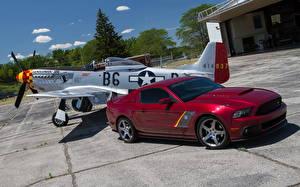 Картинки Ford Самолеты Темно красный 2013 Mustang SR P51 автомобиль