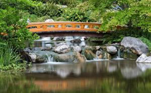 Картинка Австрия Мост Пруд Парк Сады Вена Setagaya Japanese Города