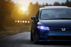Картинка Honda Спереди Синяя Седан Civic Sedan машина
