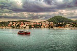 Картинки Хорватия Вода Дома Речные суда Дубровник HDR