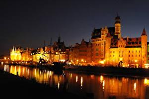 Фото Польша Побережье Гданьск Ночь Водный канал