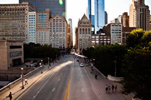 Картинки США Дороги Здания Небоскребы Чикаго город Улица Города