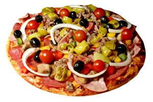 Фотографии Быстрое питание Пицца Оливки Томаты Пища