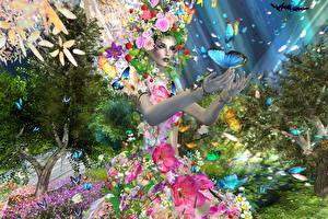 Обои Бабочка Платье 3D Графика Девушки Цветы