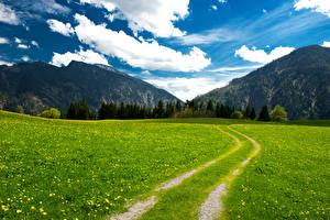 Картинки Горы Луга Пейзаж Дороги Небо Германия Трава Облака Альпы Бавария Природа