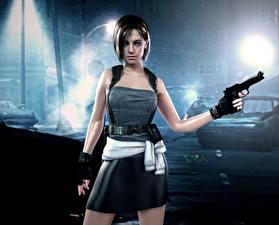 Картинка Resident Evil Пистолетом Воители Платье Юбке Ночь Игры Девушки 3D_Графика