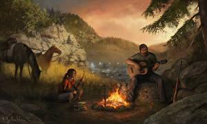 Обои для рабочего стола The Last of Us Огонь Мужчины Лошади Гитара Игры Девушки Природа