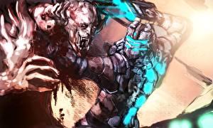Обои Dead Space Чудовище Сражения Броня Шлем Фан АРТ Фэнтези