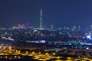 Обои Китай Небоскребы Тайвань Тайбэй Ночные Мегаполиса