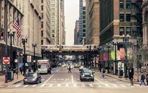 Фото США Дороги Дома Чикаго город Улица Города