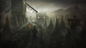 Картинка Готические Дождь Хеллоуин Мельница Ночные Фэнтези