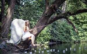 Картинки Ангелы Ловля рыбы Удочка Деревья Крылья Фантастика Девушки