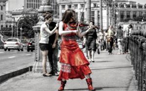 Картинки Люди Скрипки HDR Улица девушка