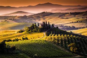 Обои Поля Италия Пейзаж Тоскана Сверху Природа фото