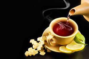 Картинка Напиток Чай Лимоны Чашка Блюдца Пар Продукты питания
