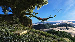 Картинка Лестница Деревья 3D Графика Природа