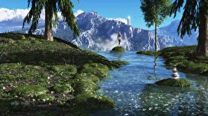 Картинка Речка Горы Фантастический мир Трава 3D Графика Природа Фэнтези