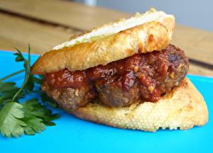 Картинки Фастфуд Гамбургер Хлеб Кетчуп