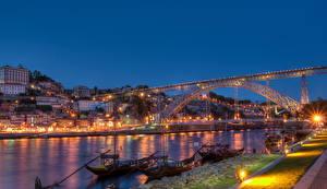 Картинки Португалия Мосты Речка Порту Ночь Водный канал