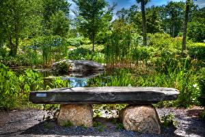 Фото Сады США Пруд Камень Скамья HDRI Coastal Maine Botanical Природа