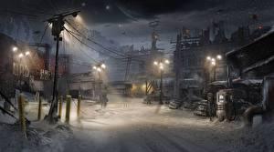 Картинки Dead Space Dead Space 0 Уличные фонари Fan ART 0D_Графика Фэнтези