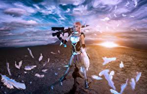 Обои Final Fantasy Final Fantasy XIII Перья Небо Воины Облако Lyz Brickley компьютерная игра Девушки Фэнтези