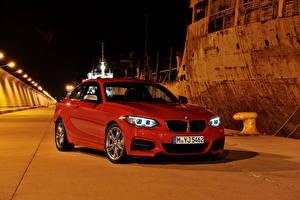 Фотографии BMW Красных В ночи 2013 M235i F22 автомобиль