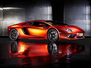 Картинка Lamborghini Оранжевый 2013 Aventador LP700-4 Автомобили