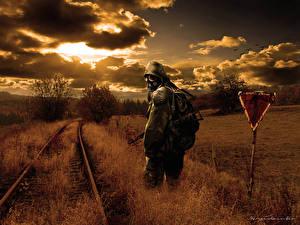 Картинка STALKER Железные дороги Противогаз Облака Трава Фэнтези