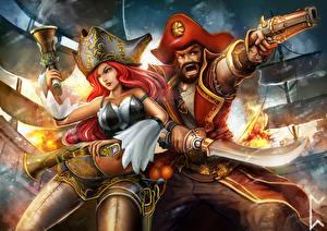 Картинка Пираты Пистолеты Мужчины Шляпа Двое Сабли Фантастика Девушки