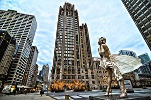 Обои Штаты Здания Небоскребы Marilyn Monroe Памятники Чикаго город Улиц Города Девушки Знаменитости